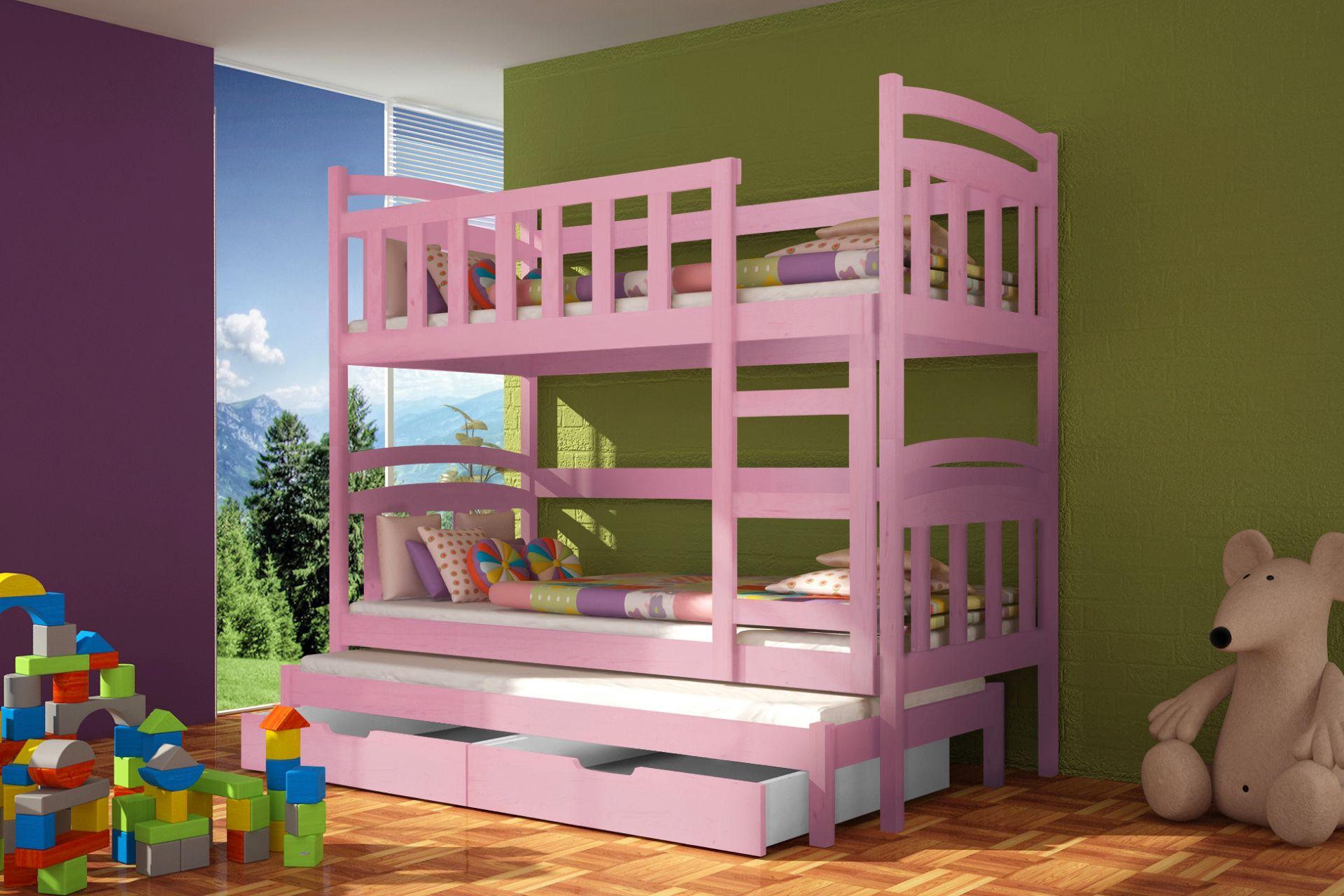 Piętrowe łóżko Niebieskie Potrójne Z Materacami