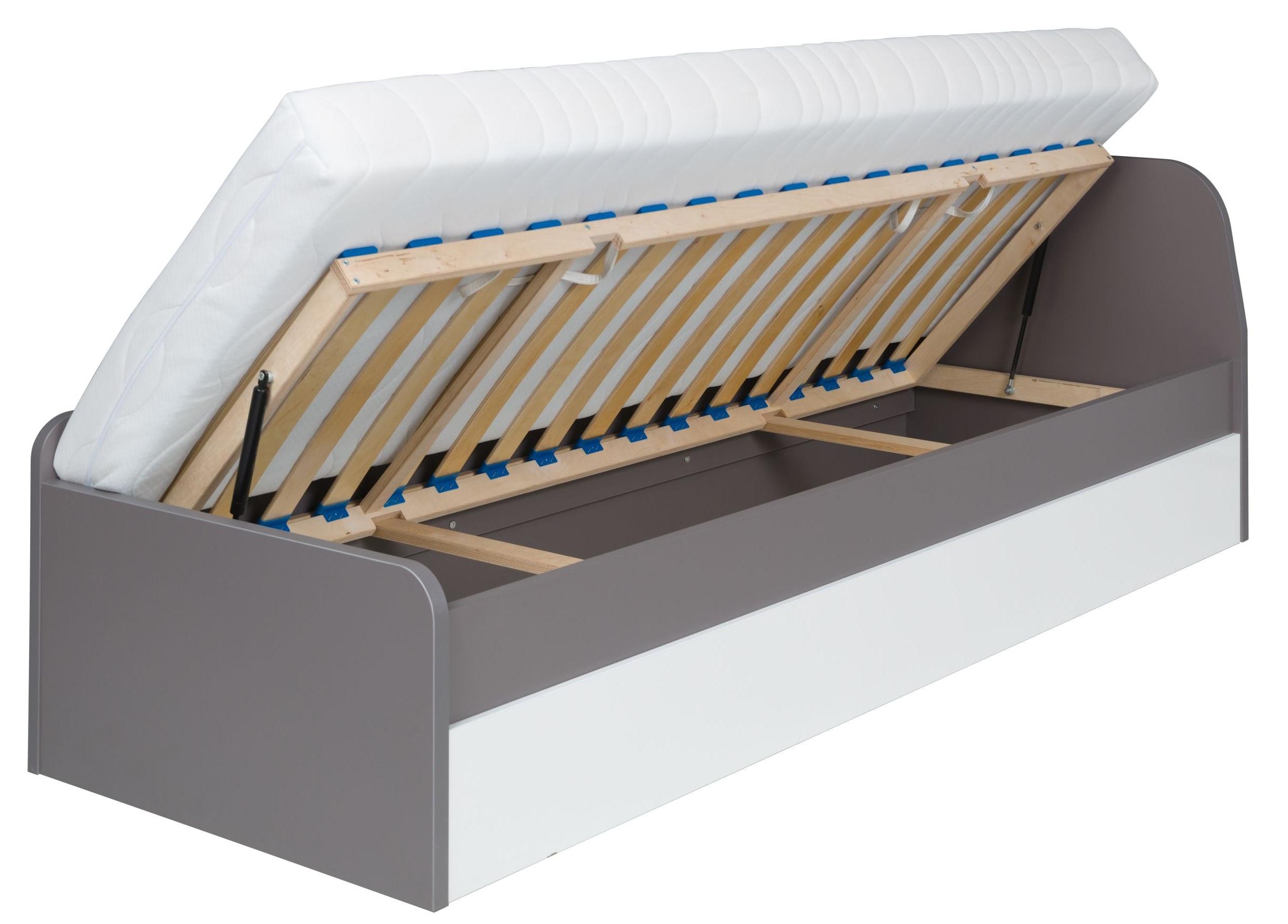 łóżko Pojedyncze Szare Z Materacem I Szufladami