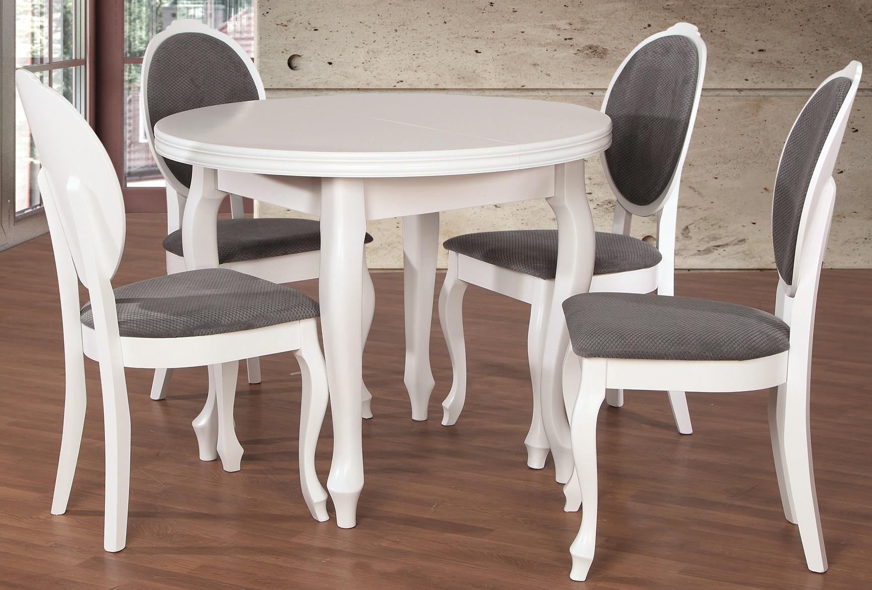 Stół Okrągły 4 Krzesła Białe R23